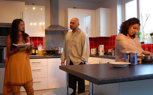 The actors rehearse in the Kitchen